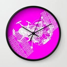 Explorer White on Pink Wall Clock