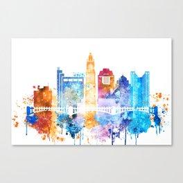 Colombus Watercolor Skyline Canvas Print