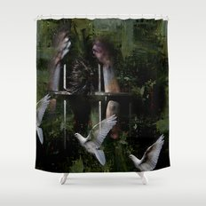 Free in his head Shower Curtain