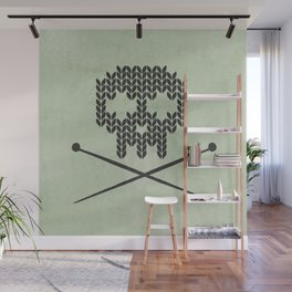 Knitted Skull / Knitting with Attitude (Black on Greenish Grey) Wall Mural