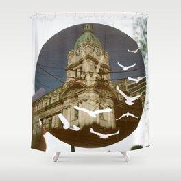 Clock Tower Birds Shower Curtain