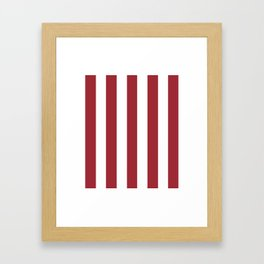 Japanese carmine purple - solid color - white vertical lines pattern Framed Art Print