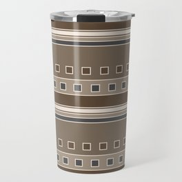 Squares and Stripes Geometric Design in Brown Travel Mug