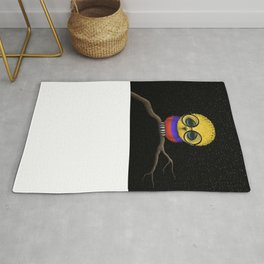 Baby Owl with Glasses and Colombian Flag Rug