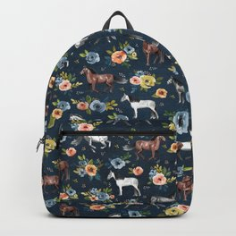 Wild Horses, Horse and Floral Print, Navy Blue, Watercolor Painting, Illustrated Horses, Flowers,  Backpack