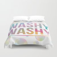 bathroom Duvet Covers featuring BATHROOM SERIES - Washy Washy!  by Noonday Design