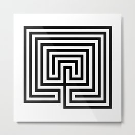 Cretan labyrinth in black and white Metal Print