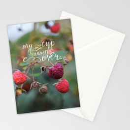 My Cup Runneth Over Encouraging Raspberry Nature Photograph Stationery Cards