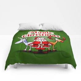 Magic Christmas with a unicorn Comforters