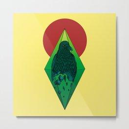 Geometric Crow in a diamond (tattoo style - color version) Metal Print