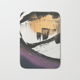 Axis [2]: a bold, minimal abstract in gold, purple, blue, black and white Bath Mat