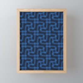 Indigo blue graphic abstract curve seamless pattern. Framed Mini Art Print