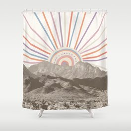 Bohemian Tribal Sun / Abstract Vintage Mountain Happy Summer Vibes Retro Colorful Pastel Sky Artwork Shower Curtain