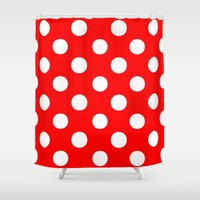 polka dots Shower Curtains featuring Polka Dots (White/Red) by 10813 Apparel