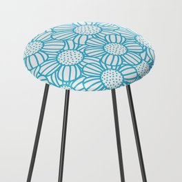 Field of daisies - teal Counter Stool