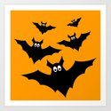 Cool cute Black Flying bats Halloween by pldesign
