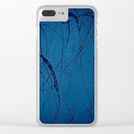 Navy Blue - Jackson Pollock Style - Modern Art Clear iPhone Case