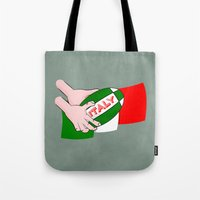 rugby Tote Bags featuring Rugby Italy by mailboxdisco