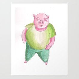 Mr. Smug-Face Pig Art Print