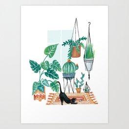 Cat in Potted Jungles Art Print