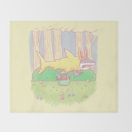 The Easter Bunny Shark Throw Blanket