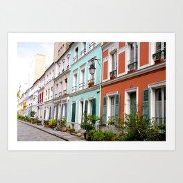 Colorful rue Crémieux, Paris Art Print