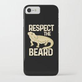 Respect The Beard - Funny Bearded Dragon Lizard Pet Illustration iPhone Case