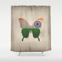 india Shower Curtains featuring india butterfly by Steffi Louis