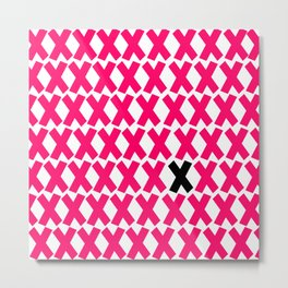 X Marks The Spot in Hot Pink Metal Print