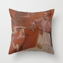 Combing the Hair Throw Pillow