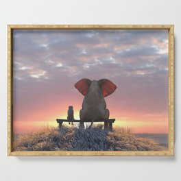 elephant and dog watch the sunrise on the seashore Serving Tray
