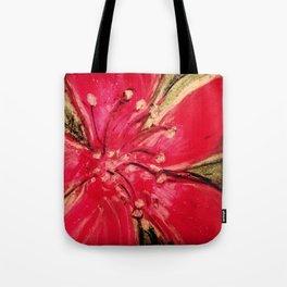 Red Hibiscus Detail Tote Bag