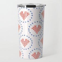 Hand Drawn Embroidery Love Heart Stitches Seamless Vector Pattern. Cross Stitch Travel Mug