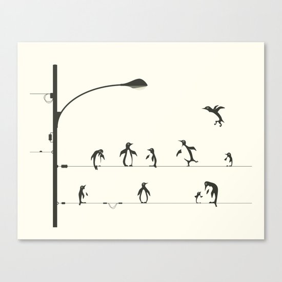 PENGUINS ON A WIRE Canvas Print