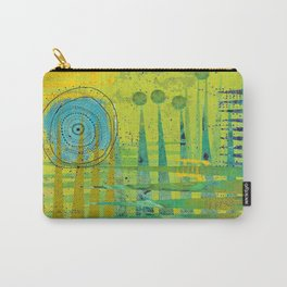 Blue Green Abstract Art Collage Carry-All Pouch
