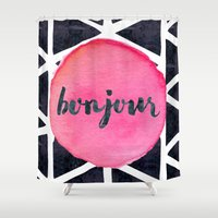 bonjour Shower Curtains featuring Bonjour by Hello Sayang Design