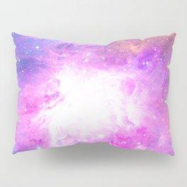 Colorful Pastel Pink Nebula Purple Galaxy Stars Pillow Sham