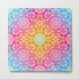 rainbow aura mandala Metal Print