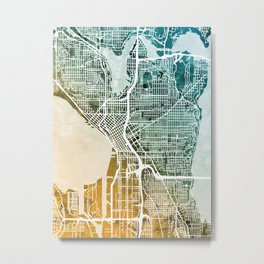 Seattle Washington Street Map Metal Print