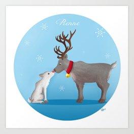 Reindeer (christmas reeting card) Art Print