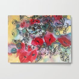 Red poppies and other flowers Metal Print