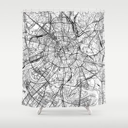 Moscow White Map Shower Curtain