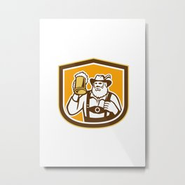 Bavarian Beer Drinker Mug Shield Retro Metal Print