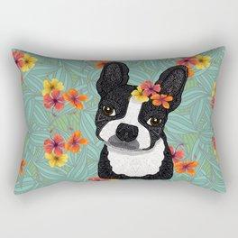 Tropical Boston Terrier Girl Rectangular Pillow