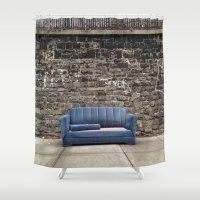 sofa Shower Curtains featuring sofa free by danielle marie