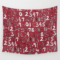 math Wall Tapestries featuring math doodle red by Sharon Turner