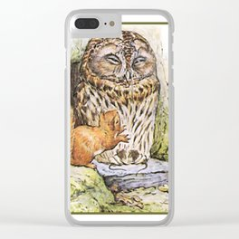 Squirrels tease a sleeping Owl Clear iPhone Case