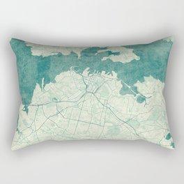 Auckland Map Blue Vintage Rectangular Pillow