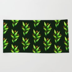 Abstract Watercolor Green Plant With Orange Berries Beach Towel