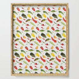 Watercolor Hot Peppers Serving Tray